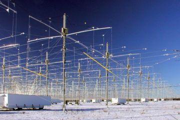 180 Antennen mit Hochfrequenztransmittern stehen in Gakona, Alaska. Man kennt sie als